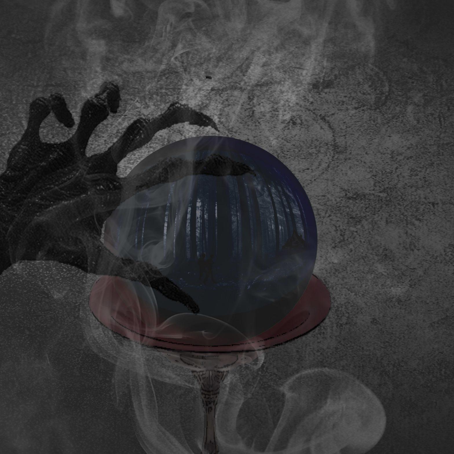 Une main décharnée posée sur une boule de cristal qui laisse voir une sombre forêt où évolue deux silhouettes d'enfants.
